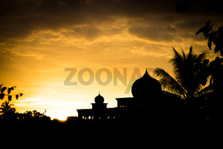 Malaysian Mosque silhouette at sunset