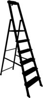 Black silhouette tool staircase on a white background