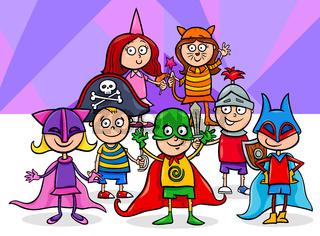kids group at mask ball cartoon illustration