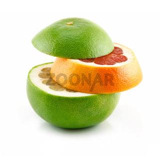 Ripe Sliced Grapefruit Isolated on White