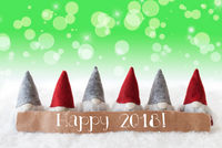 Gnomes, Green Background, Bokeh, Stars, Text Happy 2018