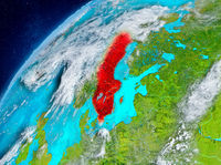 Space view of Sweden in red