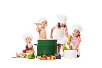 Kids play cook