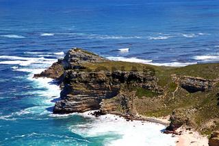 Am Kap der guten Hoffnung, Blick von Cape Point aus, Südafrika, at Cape of Good Hope (view from Cape Point to Cape of Good Hope), South Africa