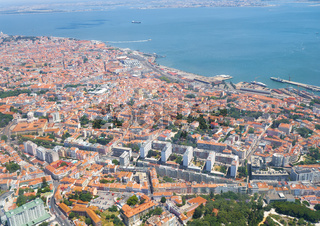 The air view of Lapa district of Lisbon.  Portugal