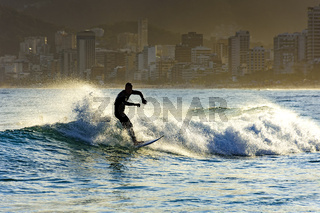 Surf in Ipanema at afternoon