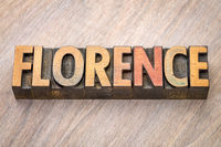 Florence word abstract in wood type