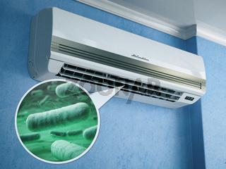Air conditioner and bacterias llebsiella or legionella pneumophila.