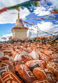 Mani stones and Buddhist stupa