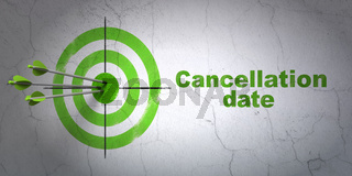 Law concept: target and Cancellation Date on wall background