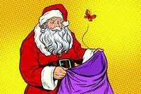Sad Santa and empty Christmas bag with a moth