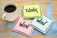 Think win-win reminder on sticky notes