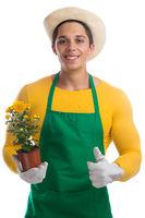 Gärtner Garten Gartenarbeit Beruf Blume Daumen hoch Freisteller
