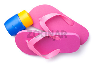 Summer Flip Flops with Suntan Cream Isolated on White Background