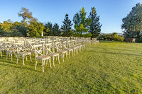 Golden hour of the wedding seating area from front