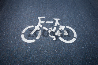 Bicycle road sign on the  road.