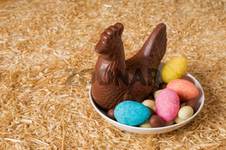 Easter chocolate in a plate