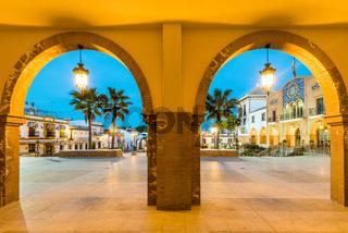 Beutiful city square in Palos de la Frontera,Spain at blue hour