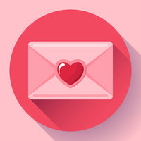 envelope with heart pink red icon, happy valentine day Love letter, love message,