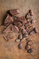 Dark chocolate and cocoa beans.