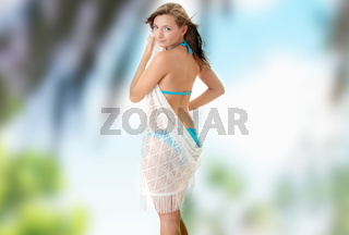 Cute young girl in swimsuit.