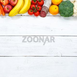Obst und Gemüse Sammlung Lebensmittel Früchte essen kochen Zutaten Quadrat Textfreiraum von oben