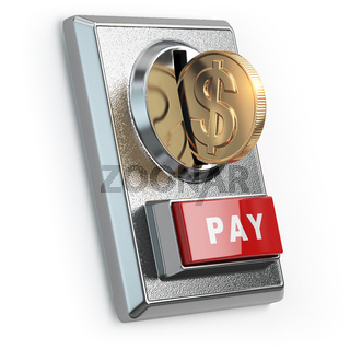 Paying  concept. Coin with dollar sign and coin acceptor isolated on white.