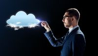 businessman working with virtual cloud hologram