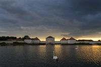Dramatic scenery of post storm sunset of Nymphenburg palace in Munich Germany.