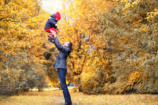 Family in autumn park in the afternoon