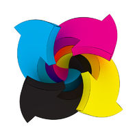Four arrows CMYK colors swirling on white