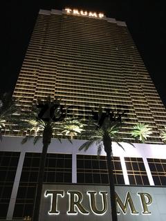Exterior shot of Trump International Hotel Las Vegas at night