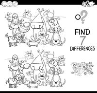 find differences with dogs coloring book