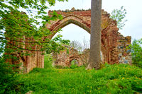 romantic view of medieval ruin of christian church in europe