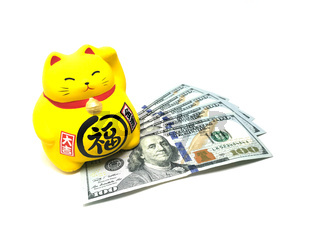 Maneki Neko, Beckoning Lucky Yellow Cat and Dollar Bills