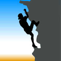 Black silhouette rock climber on against the blue sky