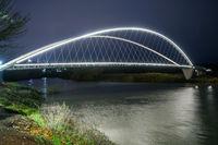 Lighted Pedestrian Bridge Crossing Willamette River Riverfront Park