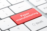 Manufacuring concept: Paper Manufacturing on computer keyboard background