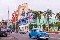 Street with propaganda in Santiago de Cuba