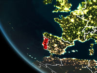 Satellite view of Portugal at night