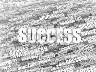 Abstract background from words success on white background. 3d