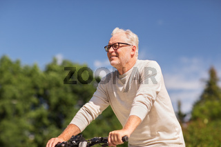 happy senior man riding bicycle at summer park