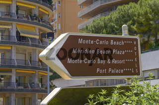 Direction Signs on a Post in Monte Carlo Monaco
