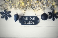 Black Christmas Plate, Fairy Light, Text Be Our Guest