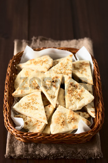 Pita Chips with Roasted Sesame and Sea Salt