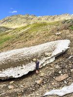Restschnee im Sommer, Hohe Mut, Obergurgl, Ötztal, Tirol, Österreich