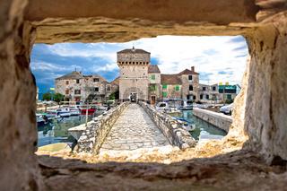 Kastel Gomilica through stone window view