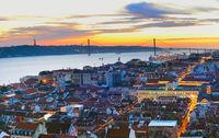 Cityscape of Lisbon at twilight