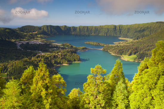 Lake of Sete Cidades on Azores, Famous caldera in Sao Miguel