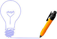 Yellow ball point pen drawing bright idea light bulb